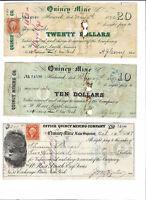 1860s $10 + $20 + $200 QUINCY MINE, Michigan, Copper Mining Scrip Set