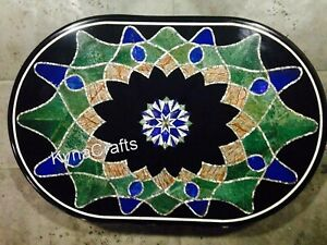 Black Oval Marble Dining Table Top Mosaic Art Patio Sofa Table 24 x 36 Inches
