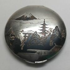 New listing Vintage Japan Sterling Silver Two Tone Damascene Powder Compact
