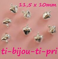 LOT de 40 CLOCHETTES GRELOTS BELLS 11,5 x 10mm ARGENTE perle fimo noël carnaval