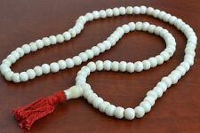 108 PCS WHITE TIBETAN BUDDHIST BONE MALA PRAYER BEADS 8MM #T-1822