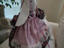 HANDMADE STUFFED BUNNY RABBIT~BLACK AND MAUVE~~~MADE IN AMERICA