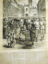 Austria Street Scene RAGUSA DALMATIA 1878 Antique Print Matted and Story