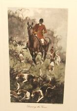 """GEORGE WRIGHT """"DRAWING THE GORSE"""" FOX HUNTING HAND COLOR ENGRAVING"""