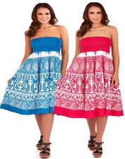 Pistachio Turquoise Pink White Floral Strapless Sundress / Skirt Cotton UK 8-22