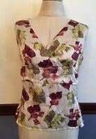 S Amanda Smith 100% Silk Sleeveless Blouse Lined Cream Green Pink