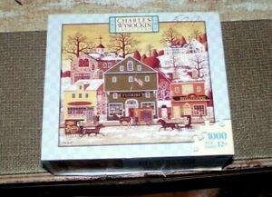 Charles Wysocki,1000 Pc,Jigsaw Puzzle,Milton Bradley,Village Scene,Very Good Con
