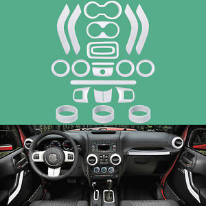 For Jeep Wrangler 21 PCS Interior Decoration Trim Kit Door Handle, AC Ring Cover