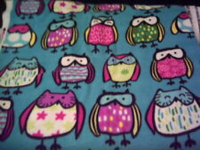 """New Fabric SQATTING/SITTING OWLS Colorful Polyester FLEECE 60""""wide...by the YARD"""