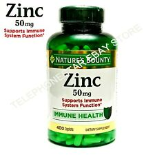 Nature's Bounty Zinc Gluconate 50mg 400Caplet Support Immune System Booster 7/24