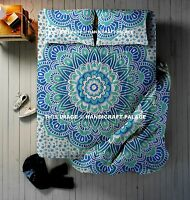 4 PC Set Indian Mandala Printed Queen Duvet Cover With Bed Sheet & 2 Pillow Case