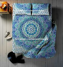 4 PC Set Indian Mandala Duvet Quilt Cover Queen Size With Bedspread & 2 Pillow