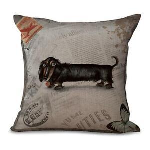 Dachshund Black PILLOW COVER 18 In Sq Linen Dog Case Cushion Home Decor Doxie
