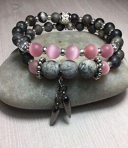 Handmade Healing Gray Agate Pink Cats Eye Gemstone Bracelet Set USA