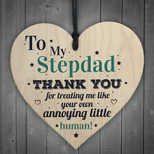 Stepdad Dad Thank You Wood Heart FATHERS DAY Gift For Him Daughter Son Birthday