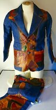 VINTAGE ROSEMARY PATCH WORK LEATHER JEAN JACKET PANTS SMALL DENIM