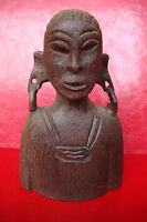 OLD AFRICAN TRIBAL Hand Crafted NATIVE WOMAN WOOD SCULPTURE FIGURES STATUE