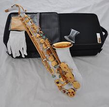 Brand new White Gold Bell Alto Saxophone  Eb Tone Abalone Keys High F# Saxofon