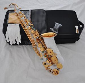 Top White Paint Gold Bell Eb Alto Saxophone Abalone High F# Engraving Saxofon