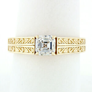 14k Gold GIA 1.00ct Asscher Square Emerald Cut Diamond Solitaire Engagement Ring