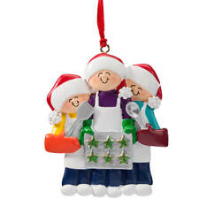 Family Cookie Baking Ornament, Family of 3