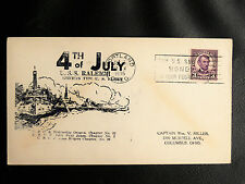 US NAVY SHIP COVERS : 4TH OF JULY / U.S.S. RALEIGH - PORTLAND 5 JUL 1935