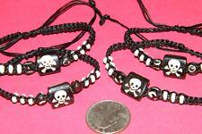 "Lot 4 Childrens PIRATE SKULL BRACELETS 6""-Wrist Adjustable Wood Beads Lot 4 NEW!"
