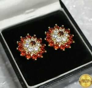 Women Elegant  Red Sapphire And Sim Diamonds Yellow Gold Filled Stud  Earrings