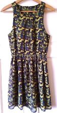 New Look Butterfly Pattern Blouse Dress,Size UK 8.Green & Blue.New Without Tags!