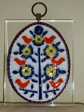 Mid Century Sargadelos Medallion Tree & Birds Design Mounted on a Lucite Plaque