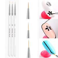 3Pcs/set Nail Art Liner Painting Pen 3D Tips DIY Acrylic Brushes Drawing Tool