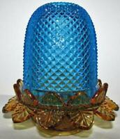 Antique 1891 Greener Co Fairy Lamp Flower Base + Aqua Blue S Clarke Diamond Dome
