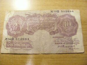 Mauve Emergency Ten Shillings Banknote K Peppiatt H52D 512684, Used folds+marks