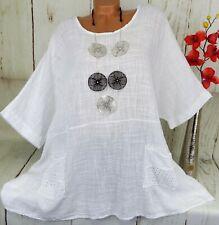Shirt T-Shirt Tunika Bluse Top Oversize Taschen Baumwolle Weiß XXXL 50 52 54