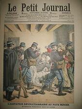 MINE CORONS EMEUTIER ANARCHISTE PECHEUR TEMPETE SAUVETAGE LE PETIT JOURNAL 1906
