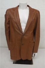 Vintage 1970s Silton Soft Brown Leather 2-Button Blazer Size 42-Long LOOK