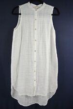 Eileen Fisher Linen Mandarin Collar Sheer Tunic in White - Size PS