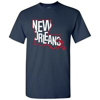 New Orleans Basketball State Outline Unisex T-Shirt - Navy