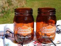 2 STEWARTS ORIGINAL ROOT BEER MASON JAR GLASS AMBER COLOR MUG