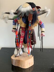 Vintage Native American Indian Dancer Kachina Doll with Colorful Feathers