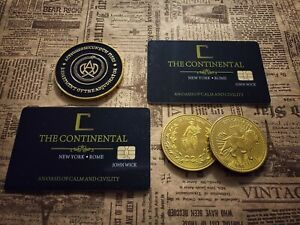 John Wick gold coins and cards set. Adjudicator coin. Continental Hotel cards.