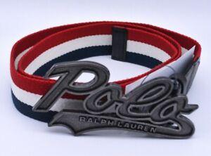 "Ralph Lauren Polo Fabric Belt Tricolor Striped Large 36"" Waist Adjustable New"