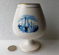 "Dutch ceramic goblet vase cup Flora Gouda Holland 5.5"" windmills canals boats"