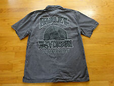 Men's Harley Davidson Gray Striped Short Sleeve Shirt Size M