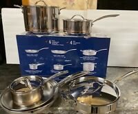 Kirkland Signature 10-piece 5-ply Clad Stainless Steel Cookware Pots & Pans (a)