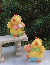 Miniature Dollhouse FAIRY GARDEN ~ Baby Boy EASTER Chicks with Egg & Flowers