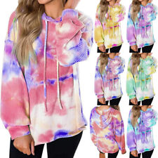 Women Tie Dye Hoodie Sweater Ladies Long Sleeve Sweatshirt Sports Pullover Tops