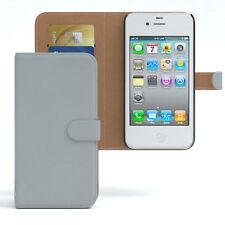 Tasche für Apple iPhone 4 / 4S Case Wallet Schutz Hülle Cover Hellgrau
