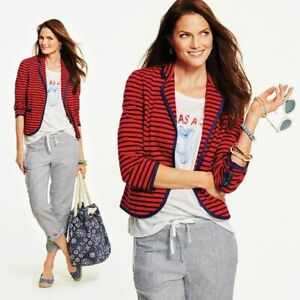 Talbots Womens Striped Jacket Blazer Size SP Small Petite Red Blue Cotton Knit