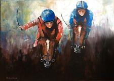 Corsa a Cavallo su tela 70x50 dipinto a mano Original italy oil painting